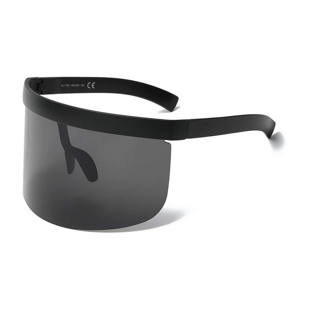 878cde0a9e6 Get Quotations · MINCL Super Large Futuristic Oversize Shield Visor  Sunglasses Flat Top Mirrored Mono Lens 172mm