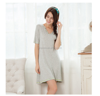 2016 new design summer woman nightshirts grey dress with V-neck