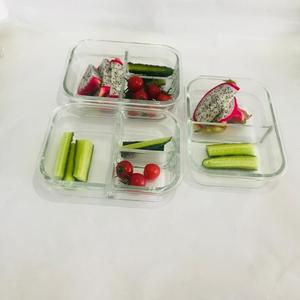 New developed round heat resistant glass food saver/keeper with 3 divider
