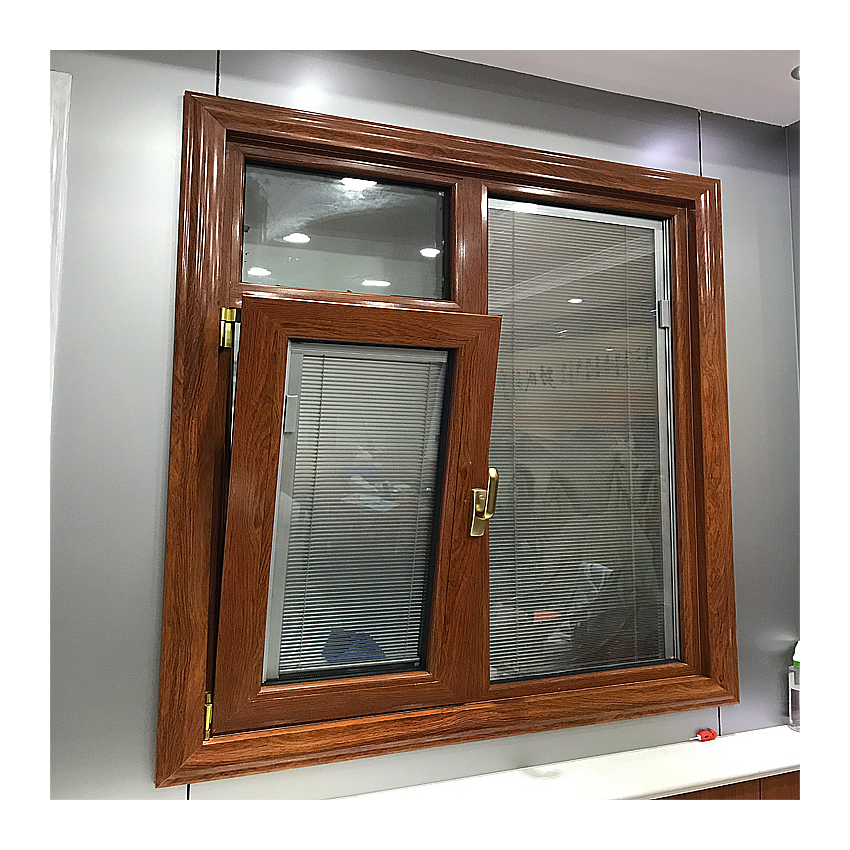 Commercial grade anti-noise wooden color single swing casement french windows for sale