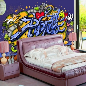 Korea 3d Wallpaper Personality Stereo Street Graffiti Sports Gym Tooling Polyester Fabric Wallpaper Indian Restaurant Wallpaper