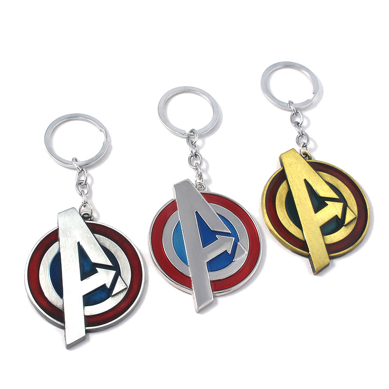 Yiwu Factory Price Alloy Letter A Avengers Hero Shield Fashion Keychain