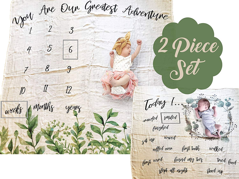 Baby Milestone Blanket Set- Monthly Milestone Blanket | Unisex Design | Baby Photo Blankets Set of 2 |100% Bamboo Muslin Makes These The Softest Baby Blankets
