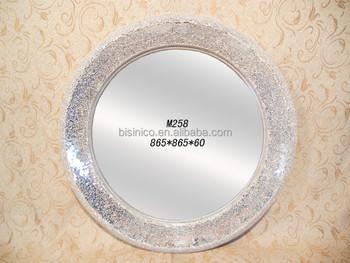 Rotondo grande effetto mosaico argento cornice specchio in bagno