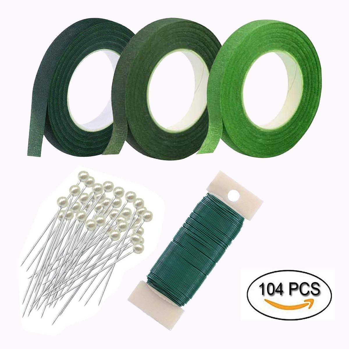 Woohome Floral Arrangement Tool Kit 3 Roll of 1/2 Inch Floral Tapes, 1 Roll of 22 Gauge Floral Paddle Wire and 100 PCS Ball Head Pins for Wedding Bouquet DIY