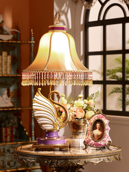 Enamel ceramic golden swan sculpture decorative table lamp art enamel ceramic golden swan sculpture decorative table lamp art painting desk lamp with shade porcelain aloadofball Images