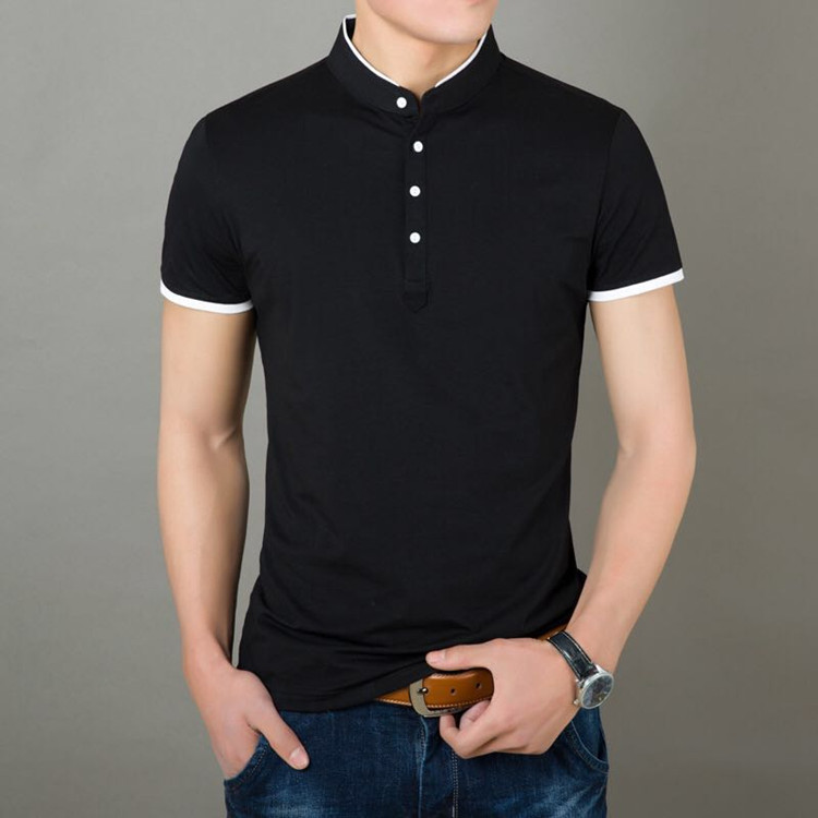 940c162a2 New Model Design Oem Polo T Shirt White Collar Black Man Polo(a844 ...