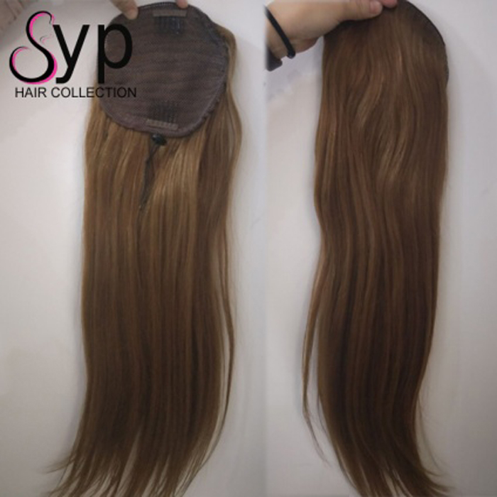 Chic Cap Real Human Hair Ponytail Extensions High Side No Tangling No Chemical No Sheding 20 22 24 Inch Honey Blonde 613