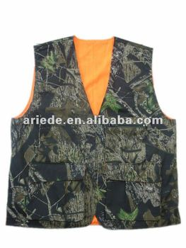 d66518c0a0d1d Man Orange Camo Hunting Vest Reversible Shooting Vest - Buy ...
