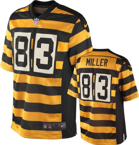 74d01dd7 Get Quotations · Heath Miller Youth Jersey: Alternate Black & Gold Striped  1934 Throwback Game Replica #83