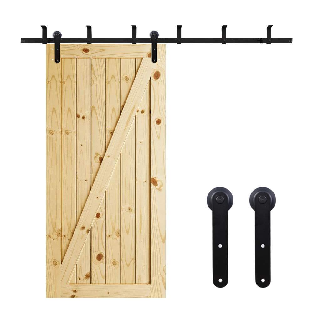 CCJH Ceiling Bracket Mount Steel Sliding Barn Wood Door Hardware Kit I Style (6.6FT for Single Door)