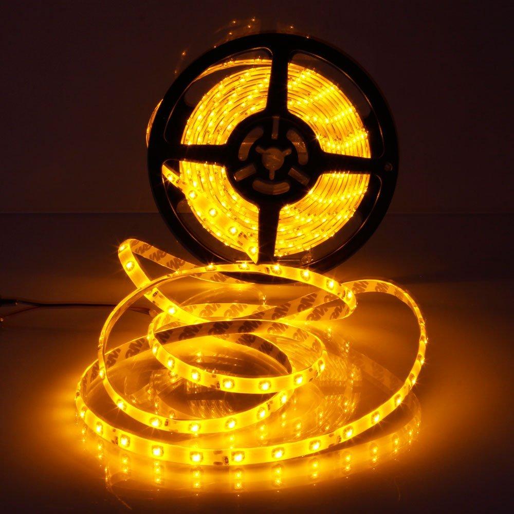MarSwell® 5m 16ft Waterproof LED Light Strip, 25W 12V SMD3528 300 LED Flexiable Tape Lights LED Strip Lights, For Indoor & Outdoor Decoration Lighting (Orange)