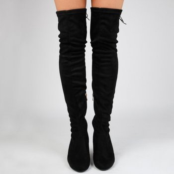 f96ad94a557f 2017 stylish Midi Heel Velvet Elastic Black Suede long Thigh High Boots  women Over The Knee