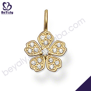 Hot sale jewelry gold plated 925 sterling silver leaf pendant