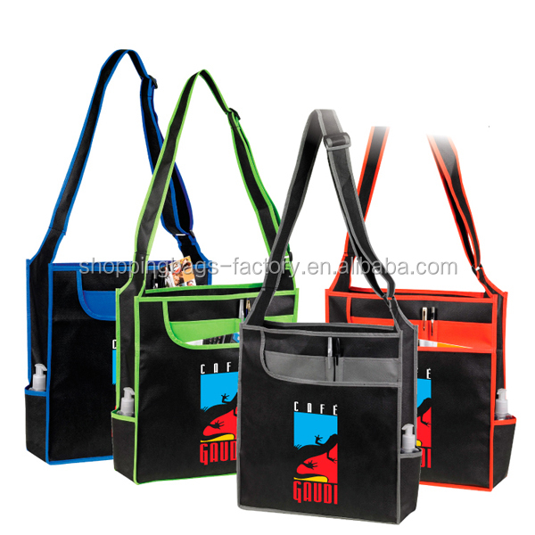 Polypropylene 90GSM Non-woven Ibiza Messenger Tote With Pen Holders one strap shoulder bag