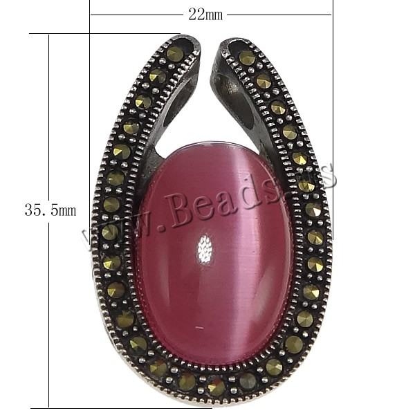 Free shipping!!!Stainless Steel Pendants,Brand jewelry, with Non Magnetic Hematite, Flat Oval, double-hole & blacken, pink