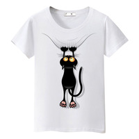 Hot sale summer naughty black cat t shirt women lovely cartoon shirt Good quality comfortable brand casual tops