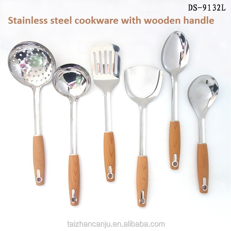 Chinese supplier factory kitchenware with wooden handle home cooking