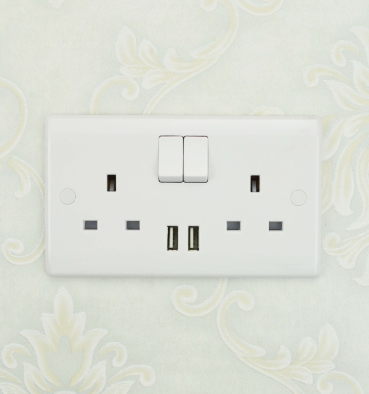 bs standard UK dual mains double 13amp socket switch, electric plug socket, electrical power usb socket