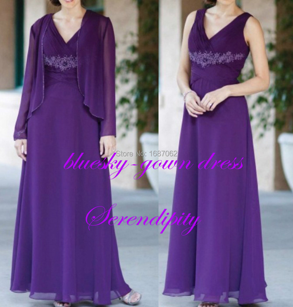 Unusual Mother Of The Bride Dresses: Long Sleeve Jacket Beading Gorgeous Pleats Ruching Purple