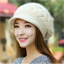 Free Shipping New Women Hat Winter Beanies Knitted Hats For Woman Rabbit Fur Cap Autumn And Winter Ladies Fashion Skullies