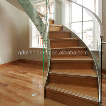 Great Cheap Price Interior Tempered Glass Railing Curve Stairs Closed Riser Wood  Steps Design