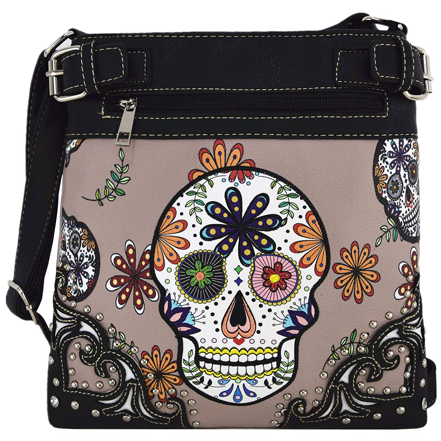 abc048acda Get Quotations · Sugar Skull Day of the Dead Cross Body Handbags Concealed  Carry Purses Country Women Single Shoulder