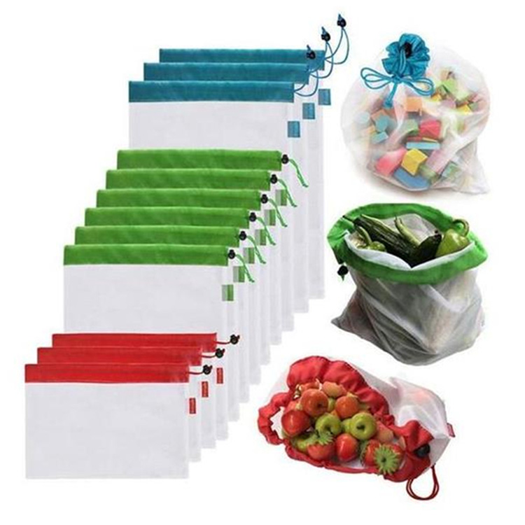 Eco Friendly Reusable Washable Mesh Net Produce Shopping Bags for Grocery Shopping Storage Fruit Vegetable Toys