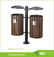 outdoor wooden trash can recycle bin for street