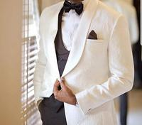 Bespoke Tailored custom Groomsmen Wedding Ceremony Wool Men white Suit
