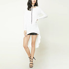 Dongguan Custom Design Fashion White Hot Sale New Slub Knit High-Low Tunic Women Tops