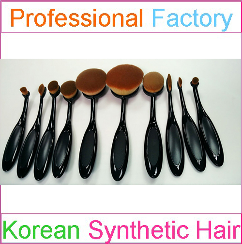 Oval Makeup Brush Set 10pcs Tooth Shape with synthetic Hair