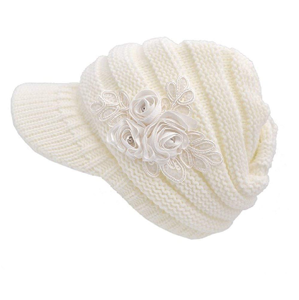 d7c26c58d0f Get Quotations · Oliviabeauty Women s Cable Knit Visor Hat with Flower  Accent Color winter hat cap