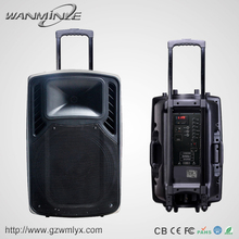 Portable wireless active speaker 12v with rechargable battery 12 inch trolley speaker