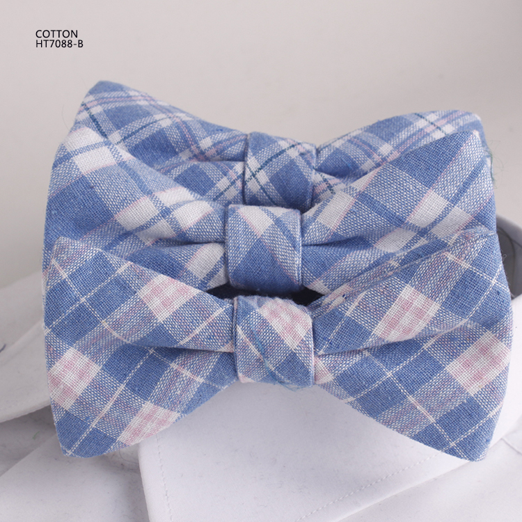 Classic Blue And White Checked Mens Cotton Bowties