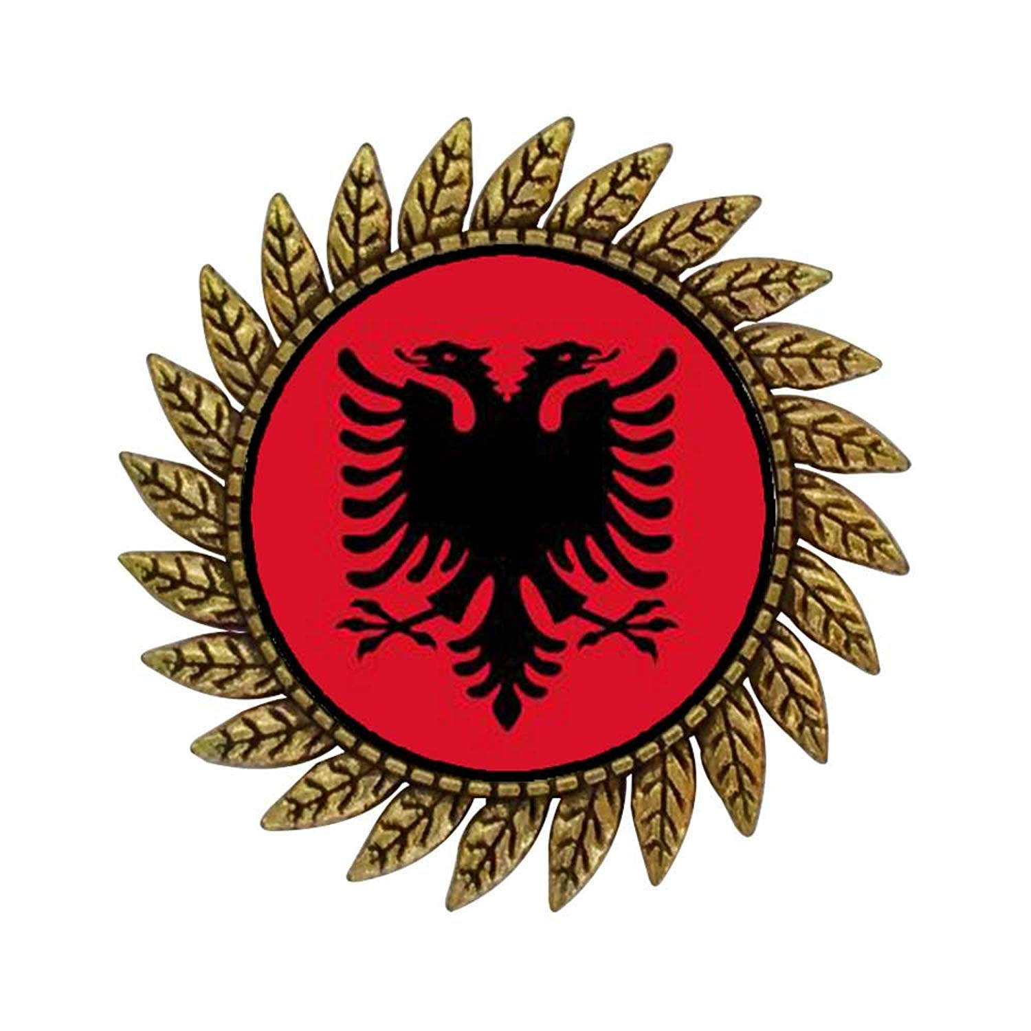 GiftJewelryShop Ancient Style Gold-plated Albania flag Hot Style Gear Round Pin Brooch