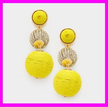 Kda4826 Customized Fancy Silk Thread Drop Ball Earrings