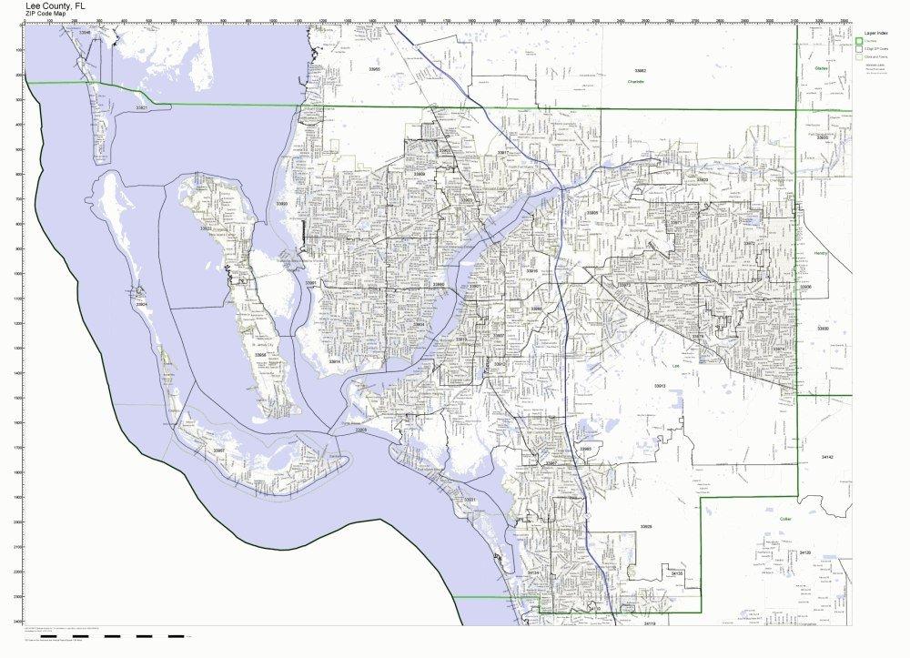 Buy Broward County, Florida FL ZIP Code Map Not Laminated in Cheap ...