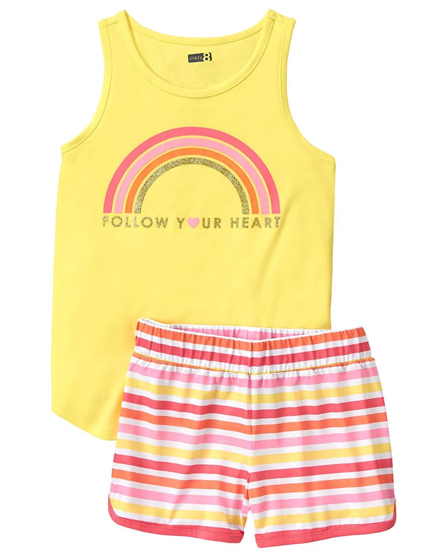7b37f8b8a Get Quotations · Crazy 8 Little Girls' 2-Piece Pajama Set (Short Sleeve)