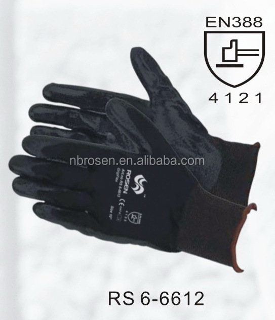 RS SAFETY cheap price black color 13gm nylon oil industrial gloves for knuckle protection