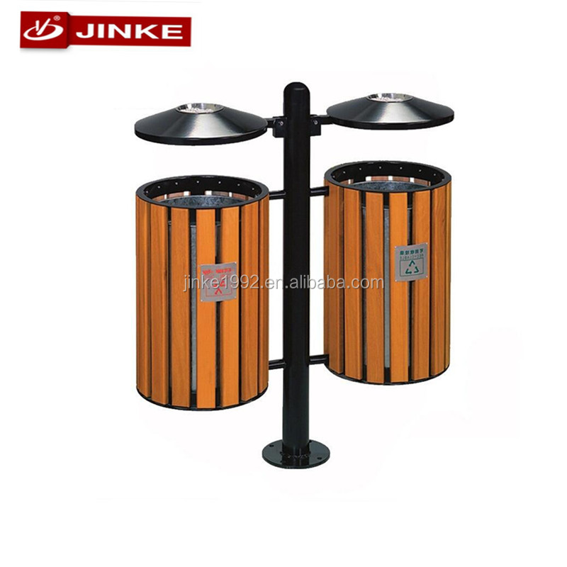 JINKE Christmas Recycling Plastic Wood Trash Can, Dustbin, Outdoor Bin, Park Furniture