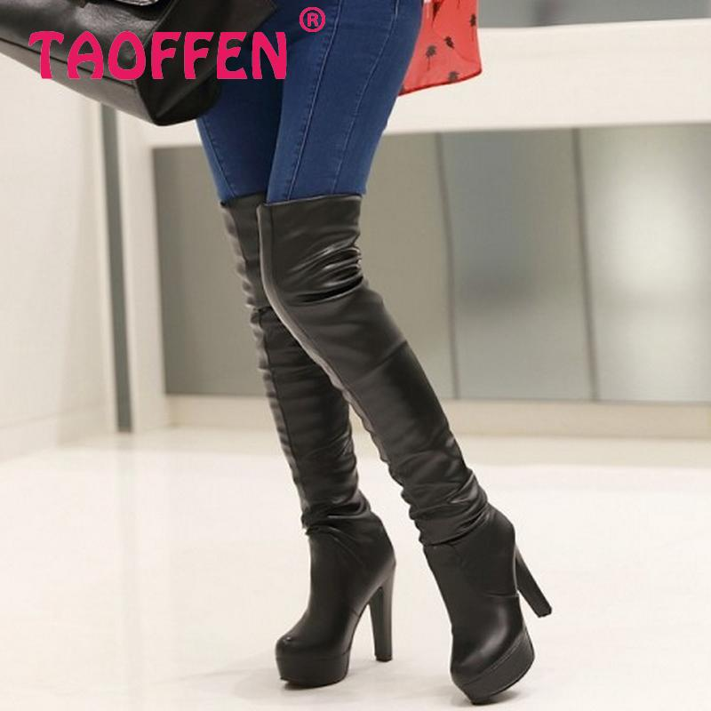Free shipping over knee high heel boots women snow fashion winter warm shoes boot P15869