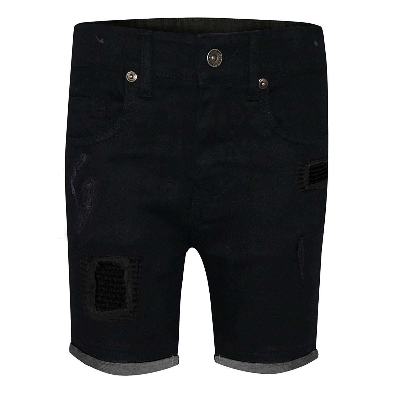 0e98ab4f5f Get Quotations · Kids Boys Shorts Denim Ripped Chino Bermuda Jeans Short  Knee Length Age 5-13 Yr