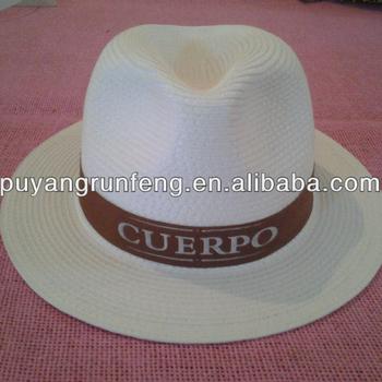 White Chapeau Panama Straw Trilby Paper Hat - Buy Promotion ... d5f9cefb19a