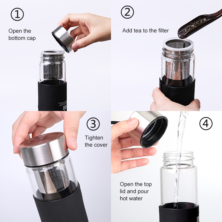Custom Design BPA Free Wholesale Borosilicate Tea Infuser Eco Sports Portable Glass Drinking Water Bottle With Filter