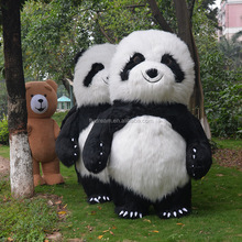 New Panda Mascot Costume For Adult, inflatable panda mascot costume, Cartoon Carnival Mascot Long Plush Fur Guangdong 2.6m tall