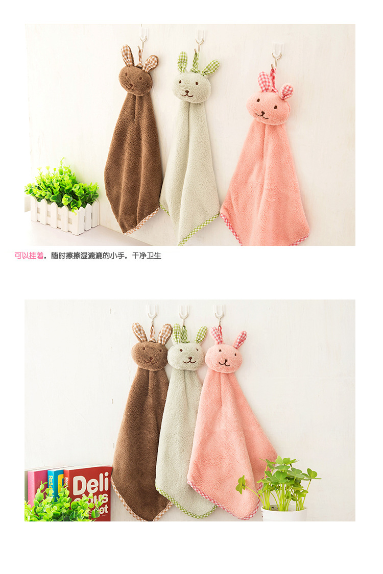 Baby Hand Towel Cartoon Rabbit Plush Soft Lovely Hanging Wipe Towel for Kitchen Bathroom