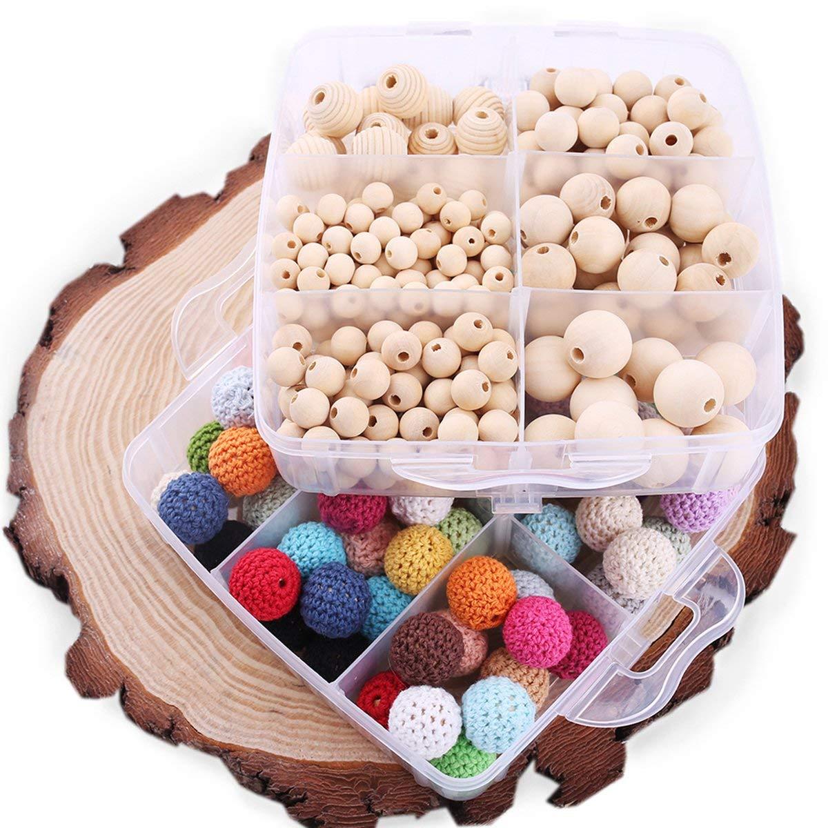 DIY Organic Teething Beads Crochet Beads BPA Free Maple Wooden Teether DIY Jewelry Diy Teether Kit Waldorf Toys Natural Environmental Toys Chewable Teether Beads DIY Kit For Baby Organic Birthday Gift