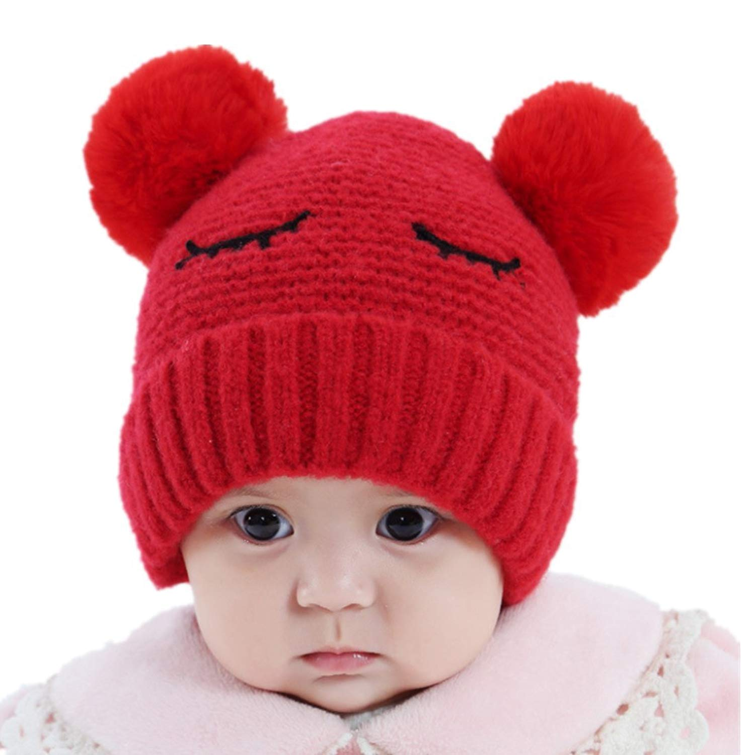 e47e2407da065 Get Quotations · Zerowin Baby Boys Girls Pompom Hat Props Crochet Knitted  Double Pom Pom Hat Bear Beanie Wool