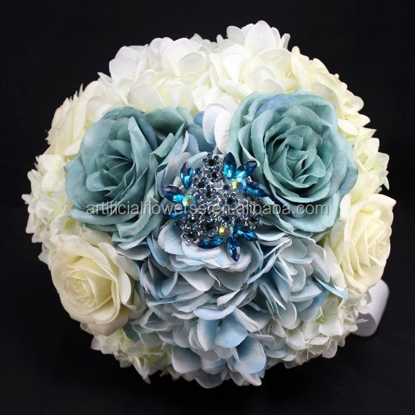 European Ivory and Blue Silk Hot Wedding Bouquets